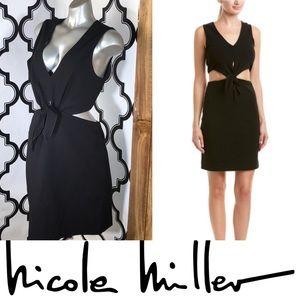 (NICOLE MILLER) Black Cutout Business Chic Dress